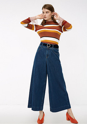 high rise wide leg cropped jeans