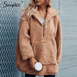 Faux lambswool oversized jacket coat Winter black warm hairly jacket Women autumn outerwear 2018 new female overcoat