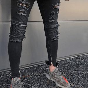 Men's Knee Zipper Destroyed Jeans Men Skinny Stretch Fashion Torn Designer Pencil Black Blue Biker Men Jeans Joggers