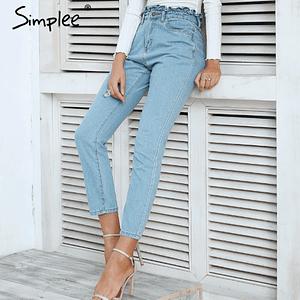 high-waist-blue-denim-jeans-women's-jeans-forstep style-marketplace-jojo-net