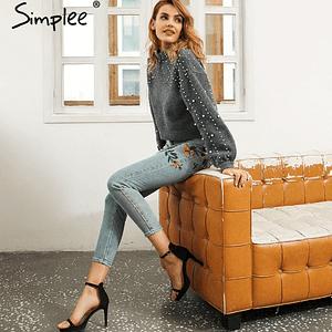Floral embroidery women jeans pants Casual high waist jeans femme Light blue denim skinny jenas pencil trousers 2018