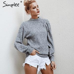 Beaded Turtleneck Sweater Women's Winter 2018 Lantern Sleeve Loose Sweater Female Sweet Warm Autumn Casual Jumper