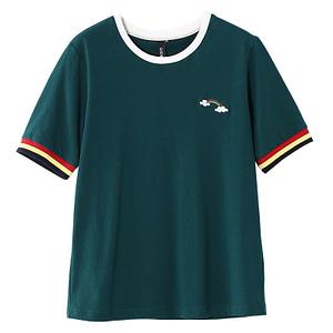 girls rainbow t shirt -green tee - green tshirt - tshirt with rainbow logo - women's tshrit - short sleeve tshirt - green summer top - summer beach tshirt - forstep style - marketplace
