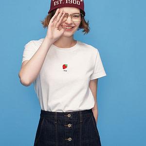 Women-White-T-Shirt-With-Watermelon-Print-T-Shirts-Base-O-Neck-Short-Sleeve-Women-T-shirt-