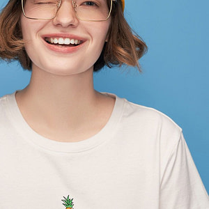 Women-White-T-Shirt-With-Pineapple-Print-T-Shirts-Base-O-Neck-Short-Sleeve-Women-T-shirt-