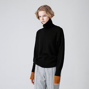 Women-Black Turleneck - High Neck Simple Turtleneck - Sweaters-And-Pullovers-Autumn-Turtleneck-Long-Sleeve-Pull-Femme-Black-Red-Color-Women-Casual-