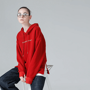 Red Women Hoodie With Patchwork - Shop Women Streetwear Hoodie - Red Oversized Sweatshirt - Forstep Style - Marketplace
