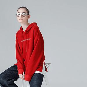 Red Women Hoodie With Patchwork - Shop Women Streetwear Hoodie - Red Oversized Sweatshirt - Forstep Style - Marketplace