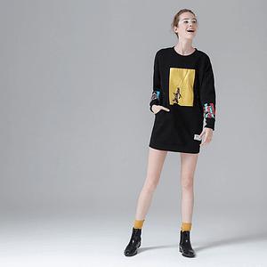 Tracksuit Women Printed Long Sleeve Hoodies O-neck Pullovers Medium-long Hoodies Sweatshirts