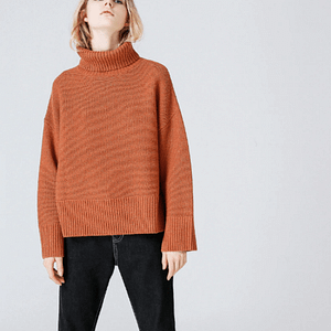 Orange Turtleneck - Rich Collar Turtlneck - Oversized Turtleneck - Loose Turtleneck - Womens Turtleneck - long sleeve turtleneck - turtlenecks for women