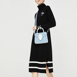 Black Turleneck Dress - Black-Long-Sleeve-Women-Dress-Striped-Turtleneck-Dresses-Autumn-Sweater-Dress-Warm-Causal-Dress-Vestidos- Long Jumper Dress