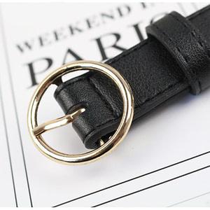 black waist belt gold buckle