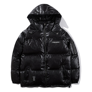 black shiny puffer jacket