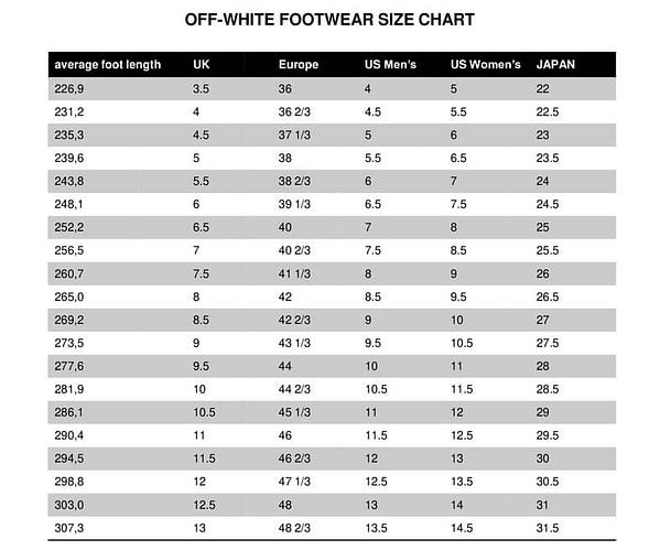 size chart offwhite